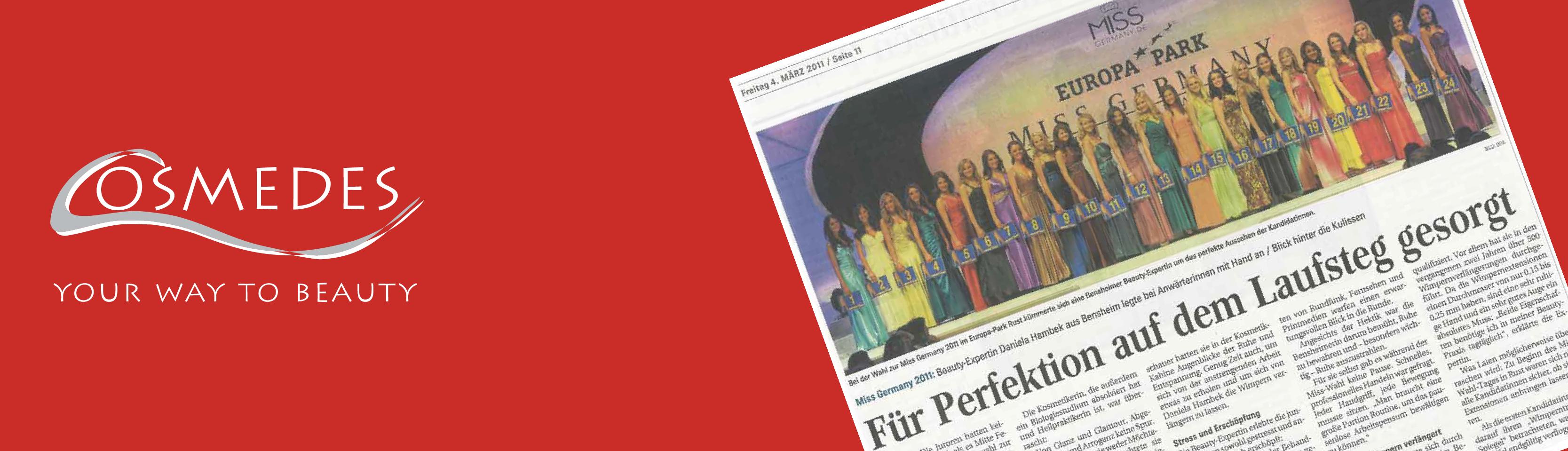 """Banner Presse Bergsträßer Anzeiger """"Für Perfektion auf dem Laufsteg gesort"""""""