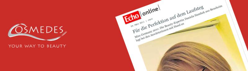 """Banner Presse Echo-Online """"Für die Perfektion auf dem Laufsteg"""""""